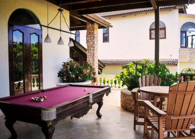 Cabrera luxe villa terrace with pool table